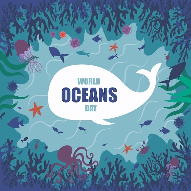 手描き世界海の日のコンセプト 無料ベクター
