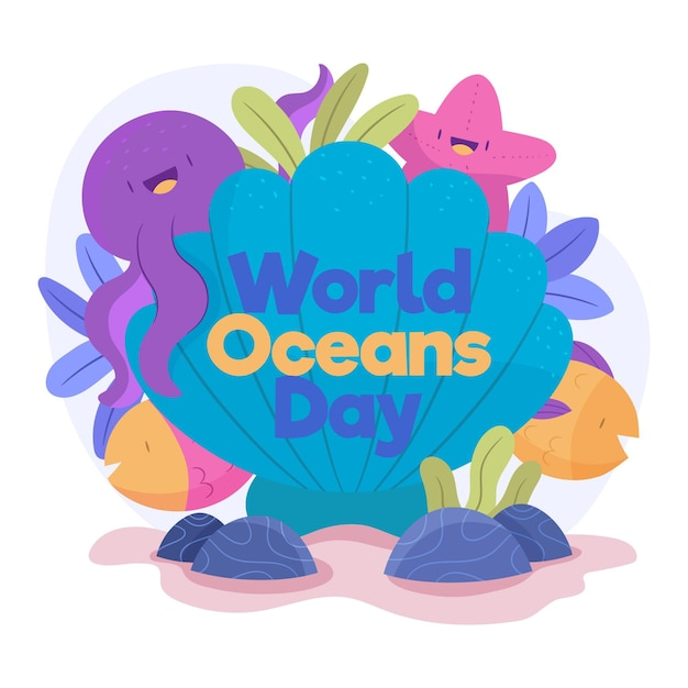 Hand drawn world oceans day concept Free Vector
