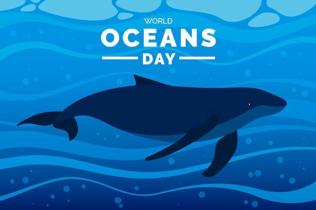 Hand drawn world oceans day Premium Vector