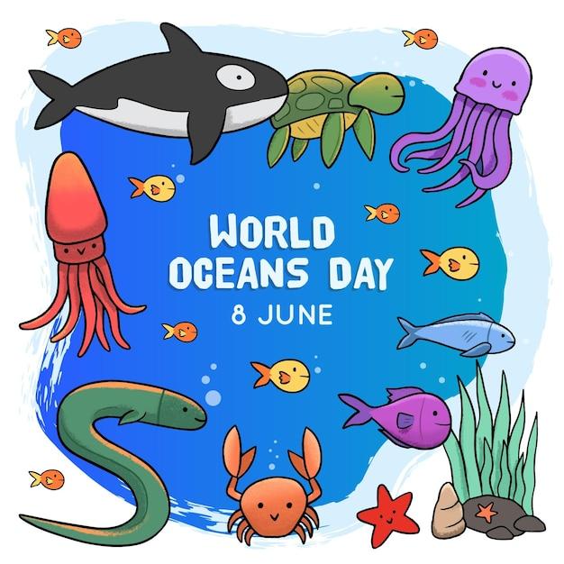 手描きの世界海の日 無料ベクター