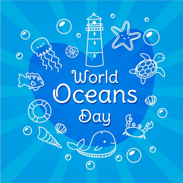 Hand drawn world oceans day Free Vector