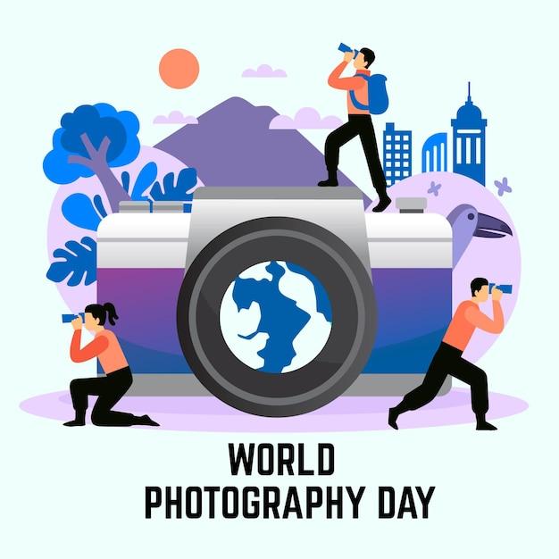 手描きの世界写真の日イラスト 無料ベクター