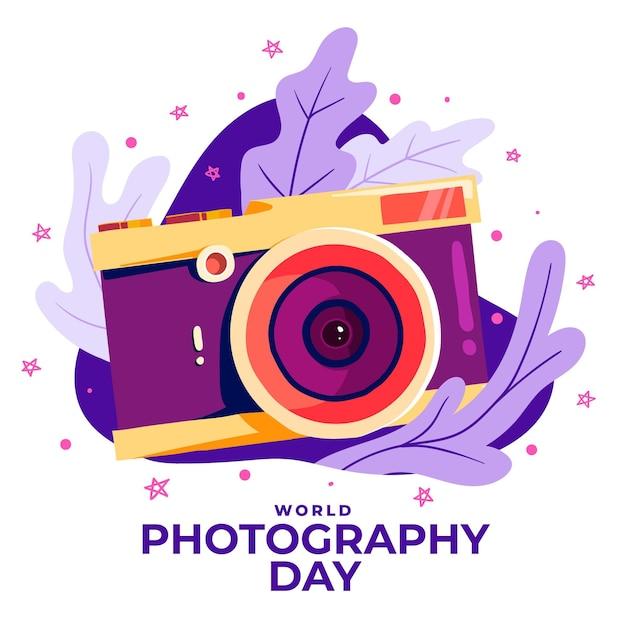 Ручной обращается всемирный день фотографии Бесплатные векторы