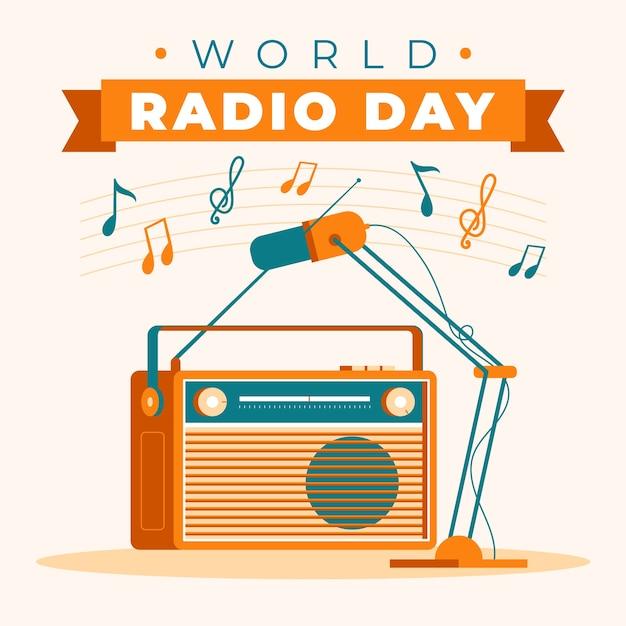Ручной обращается всемирный день радио с ретро кассетным плеером Бесплатные векторы
