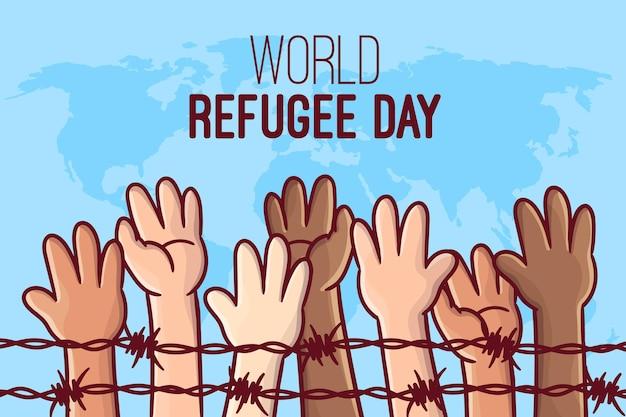 手描き世界難民の日のコンセプト 無料ベクター