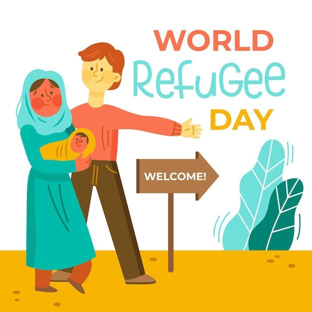 Illustrazione disegnata a mano di giorno del rifugiato del mondo Vettore gratuito