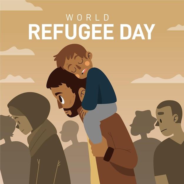 父と息子と手描きの世界難民の日 無料ベクター