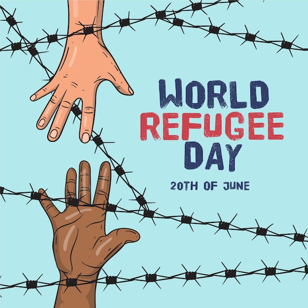 Hand drawn world refugee day Free Vector