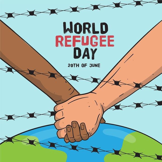 手描きの世界難民の日 Premiumベクター