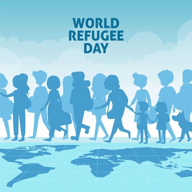 Giornata mondiale del rifugiato disegnata a mano Vettore gratuito