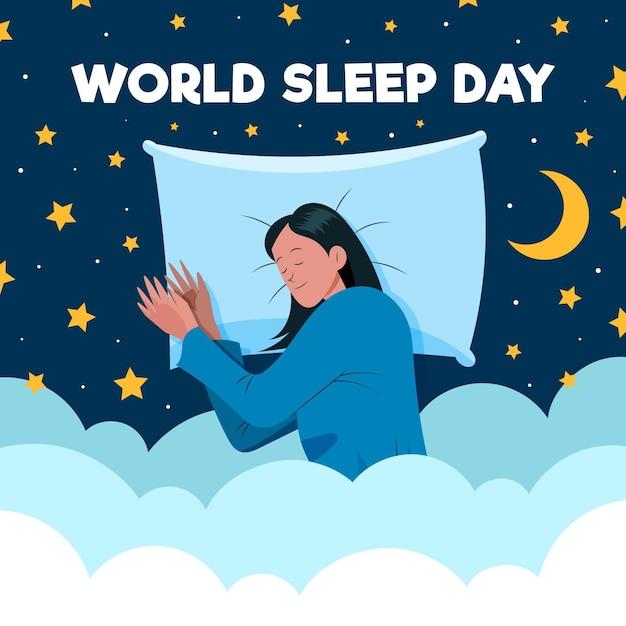Нарисованная от руки иллюстрация дня сна мира с отдыхающей женщиной Бесплатные векторы