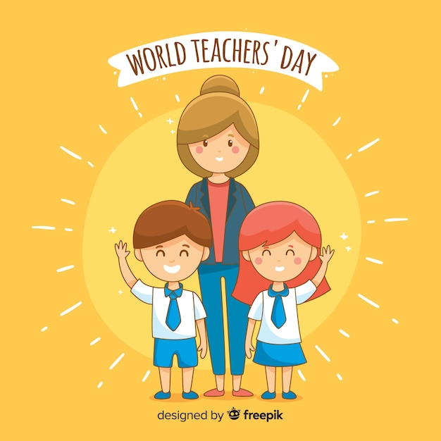 Hand-drawn world teachers day background Free Vector