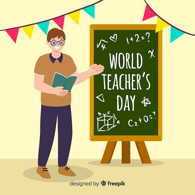 Hand drawn world teachers' day with man Free Vector
