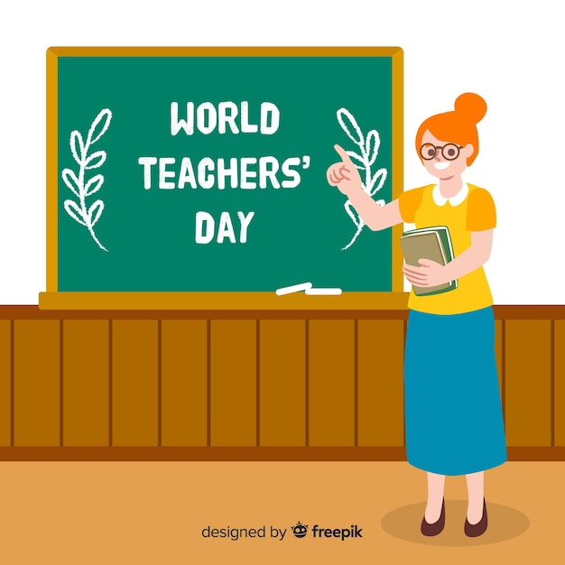 Hand drawn world teachers' day with woman Free Vector
