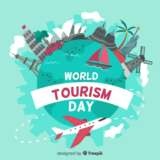 Hand drawn world tourism day event Free Vector