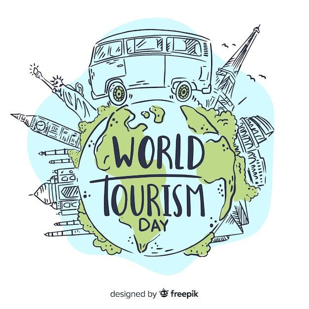 Ручной обращается всемирный день туризма с достопримечательностями Бесплатные векторы