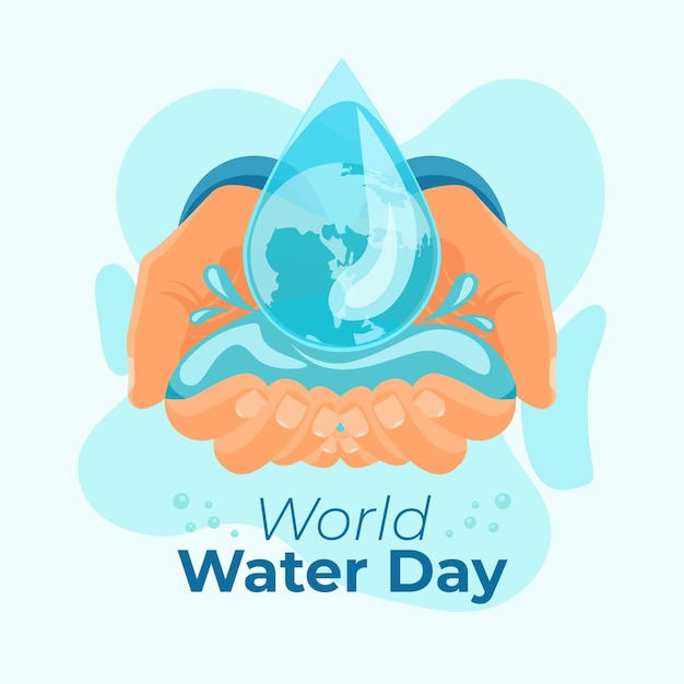 Hand-drawn world water day illustration with hands and water drop Free Vector