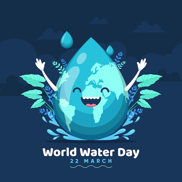 惑星と水滴と手描きの世界水の日のイラスト Premiumベクター