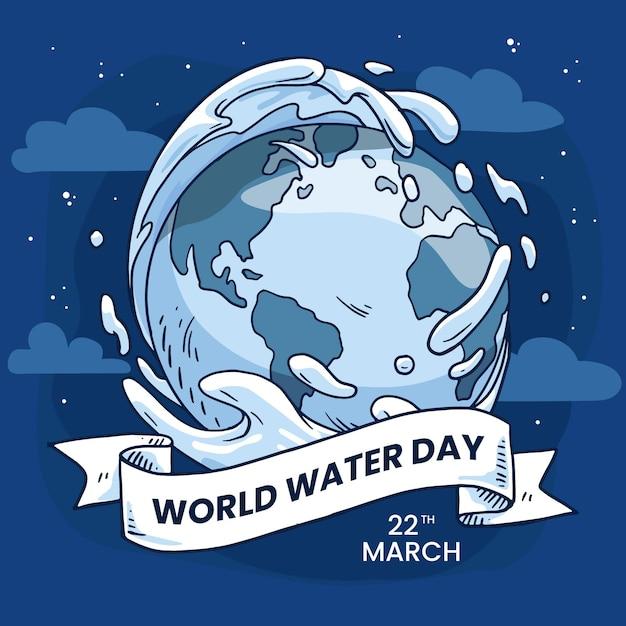 惑星地球と手描きの世界水の日のイラスト 無料ベクター