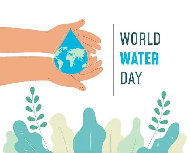 손으로 그린 세계 물의 날 무료 벡터