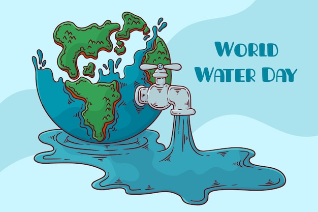 Hand drawn world water day Free Vector