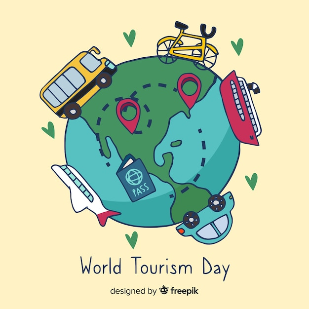 Hand drawn world with landmarks and transport tourism day Free Vector