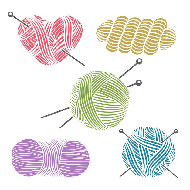 Hand drawn yarn for knitting. Free Vector