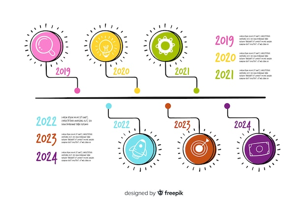 Hand drawn yearly timeline infographic Free Vector