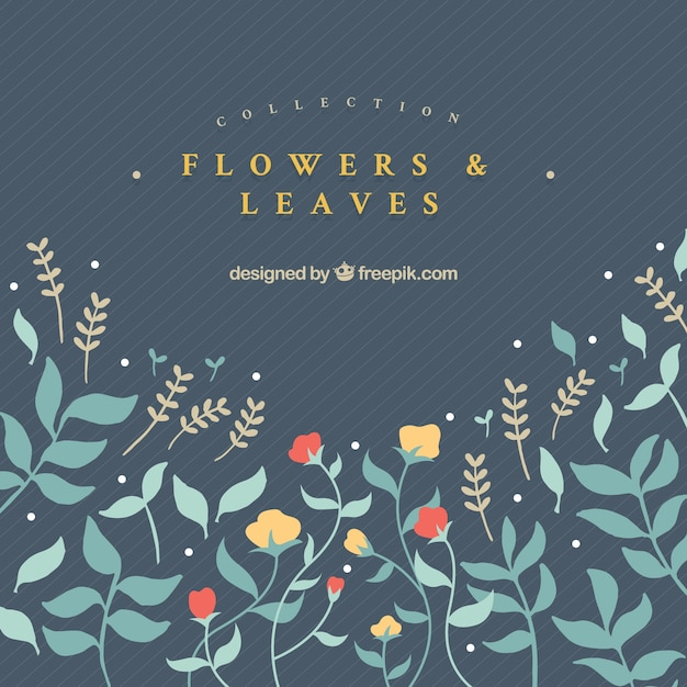 Hand drawn yellow and red flowers with green\ leaves