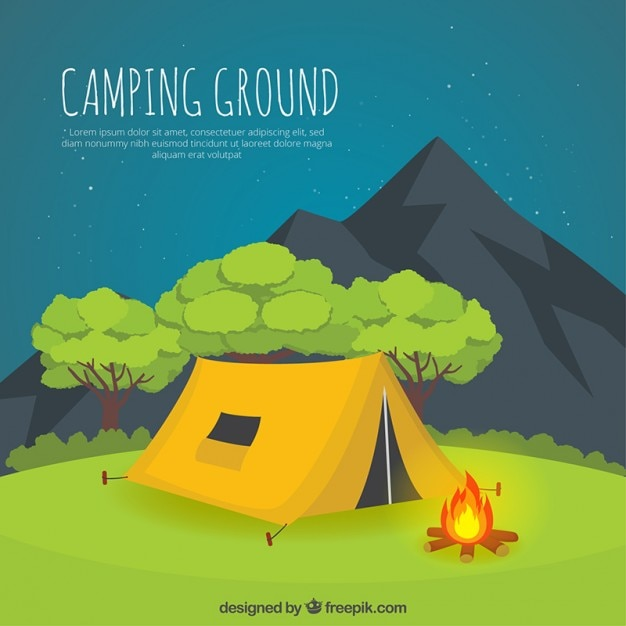 Hand drawn yellow camping tent in a nightscape Vector ...