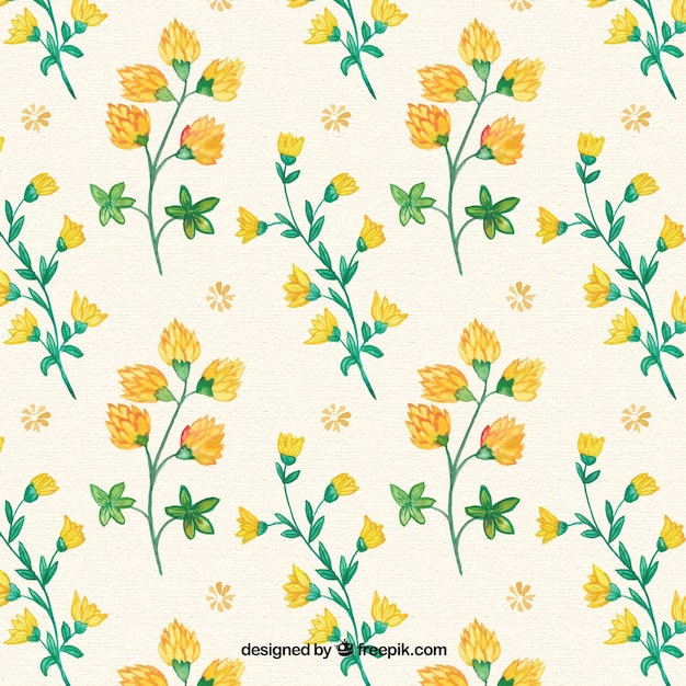 Hand drawn yellow flowers pattern
