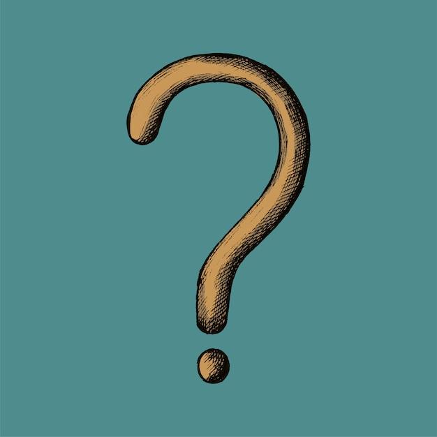 Hand-drawn yellow question mark illustration Premium Vector