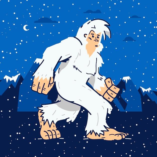 Yeti abominevole pupazzo di neve illustrazione disegnata a mano Vettore gratuito