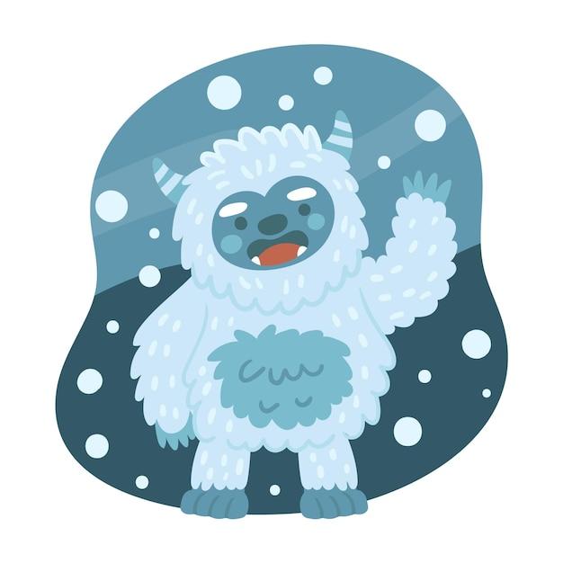 Illustrazione disegnata a mano abominevole del pupazzo di neve di yeti Vettore gratuito