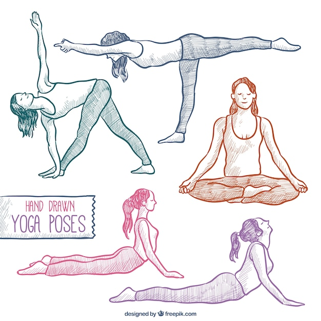 Hand Drawn Yoga Poses Set Free Vector