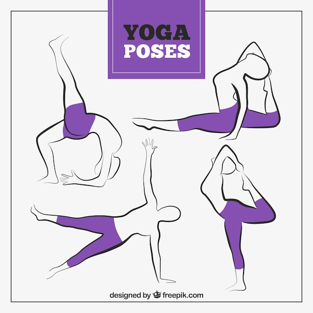 Hand drawn yoga poses with purple\ leggings