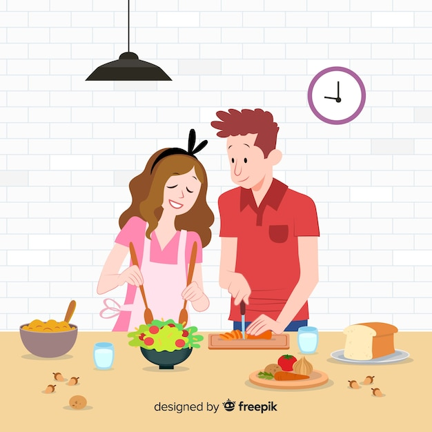 Hand drawn young people cooking Free Vector