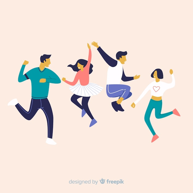 Hand drawn young people dancing pack Free Vector