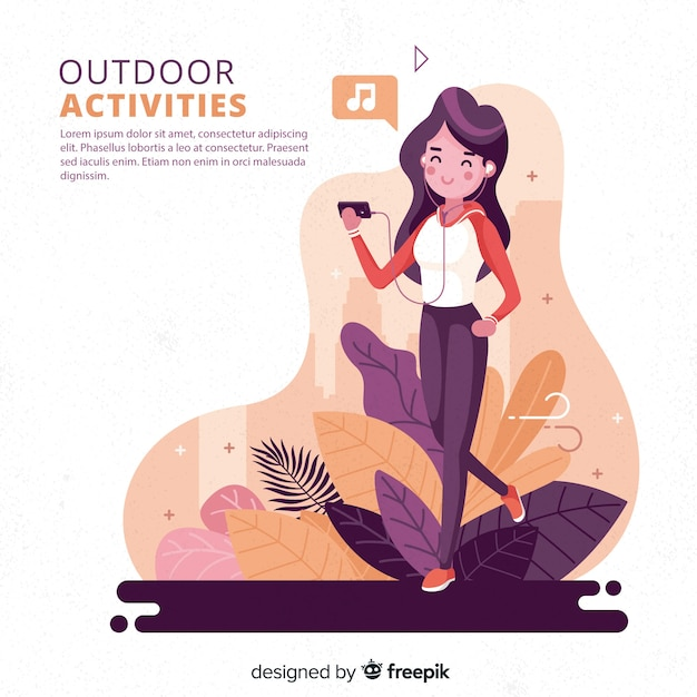 Hand drawn young people doing outdoor activities background Free Vector