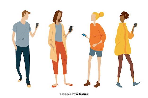 Hand drawn young people holding smartphones Free Vector