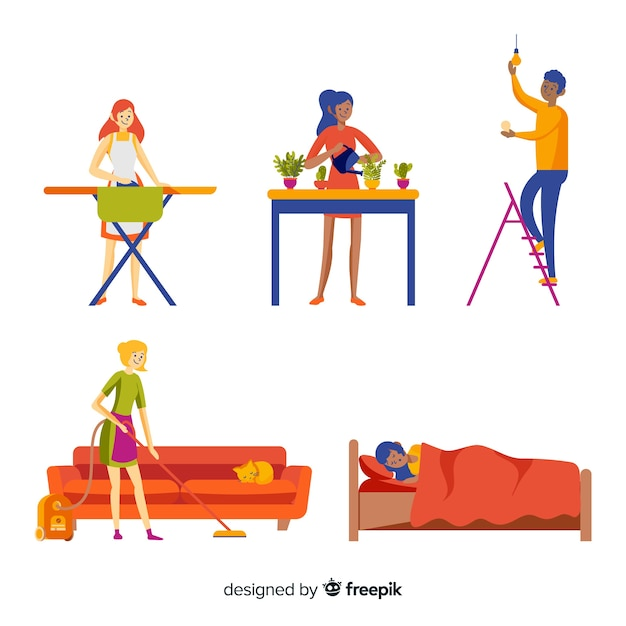 Hand drawn young people at home Free Vector