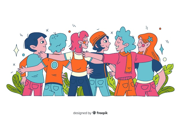 Hand drawn young people hugging together Free Vector