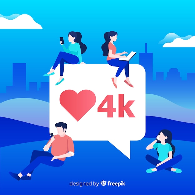 Hand drawn young people social media heart concept background Free Vector