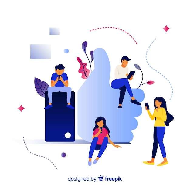 Hand drawn young people social media like concept background Free Vector