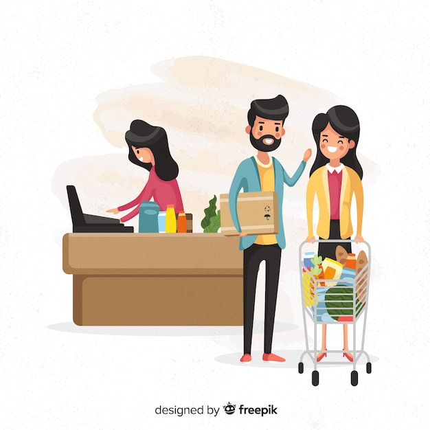 Hand drawn young people in the supermarket Free Vector