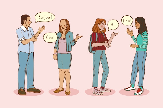 Hand drawn young people talking in different languages collection Free Vector
