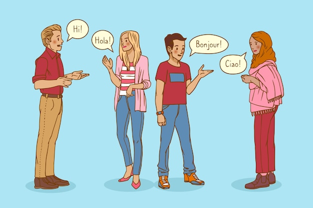 Hand drawn young people talking in different languages set Free Vector