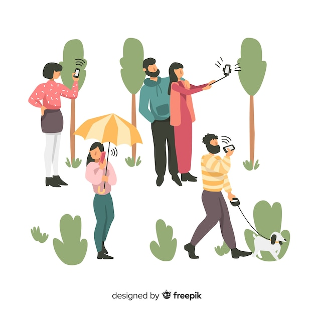 Hand drawn young people using smartphone set Free Vector