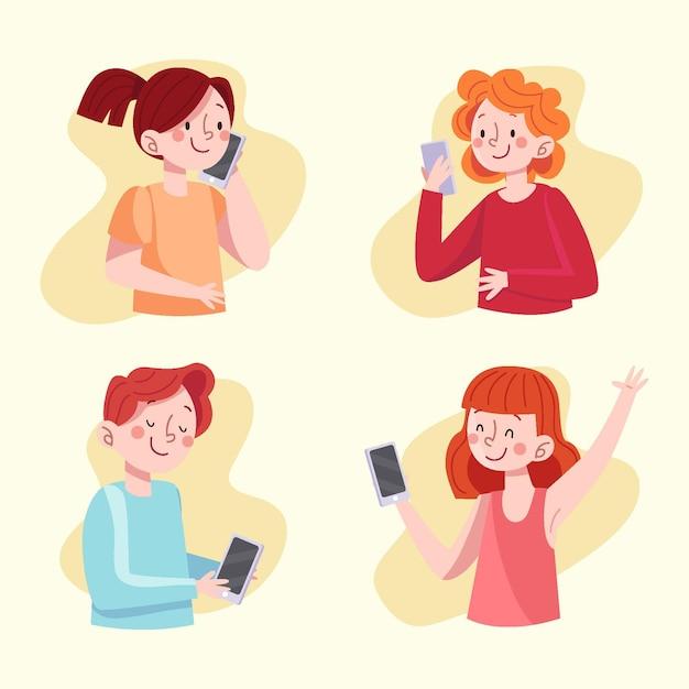 스마트 폰을 사용하여 손으로 그린 젊은 사람들 무료 벡터