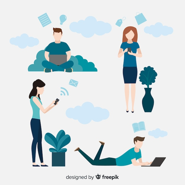 Hand drawn young people using technological device pack Free Vector